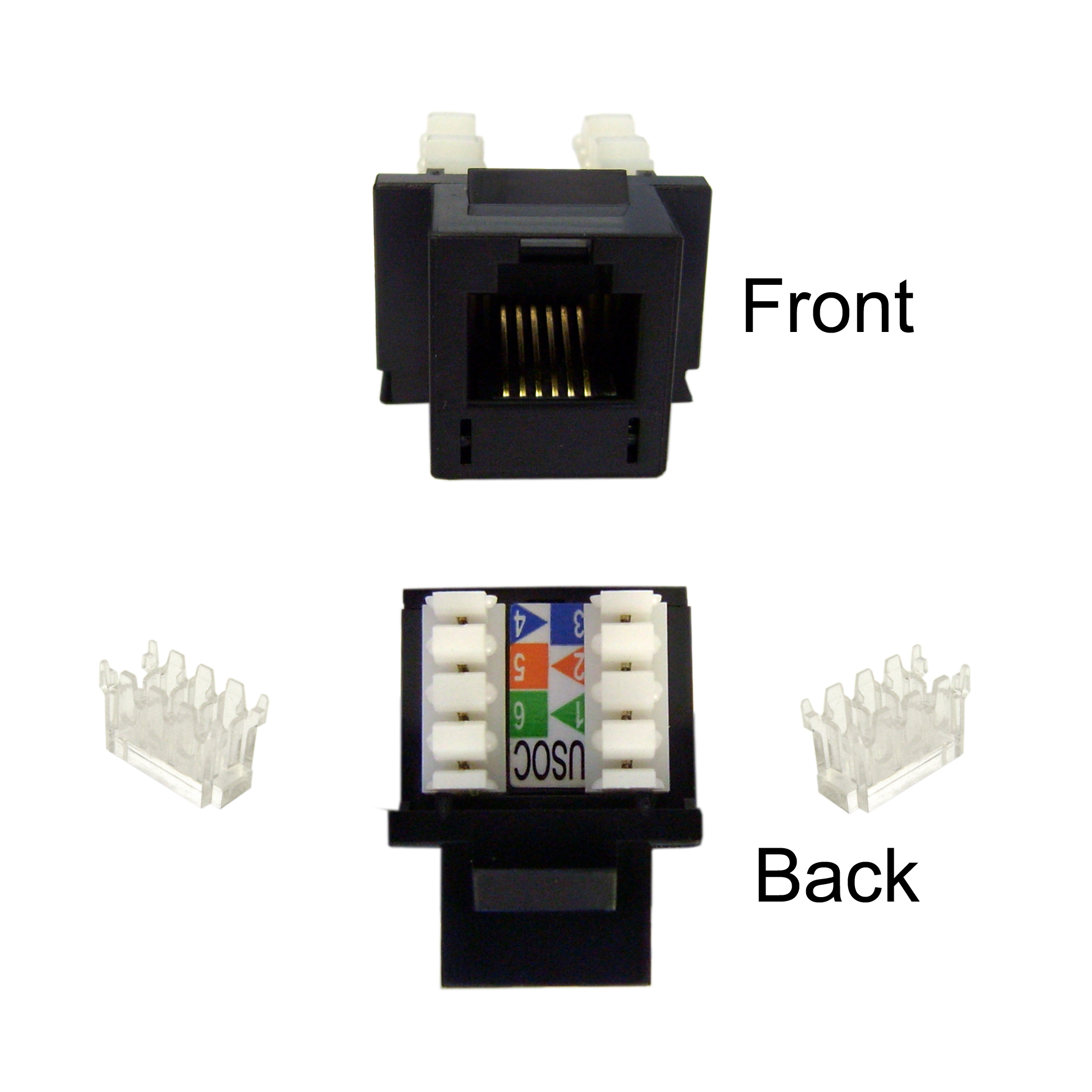 Keystone Insert, Black, Phone/Data Jack, RJ11 / RJ12 Female to 110