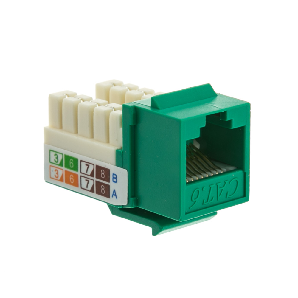 Cat6 Keystone Jack, Green, RJ45 Female to 110 Punch Down - Part Number: