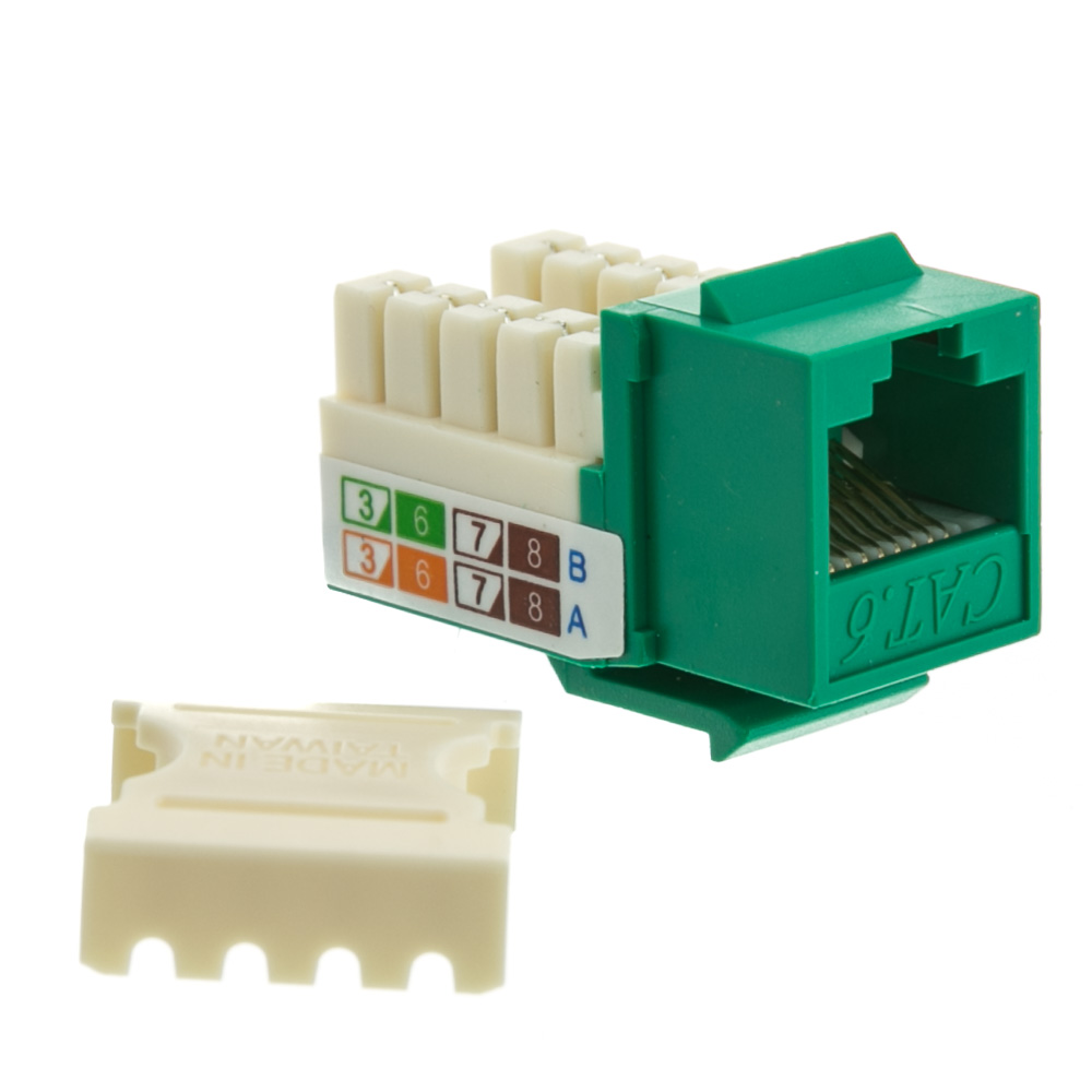 ... Cat6 Keystone Jack, Green, RJ45 Female to 110 Punch Down - Part Number: