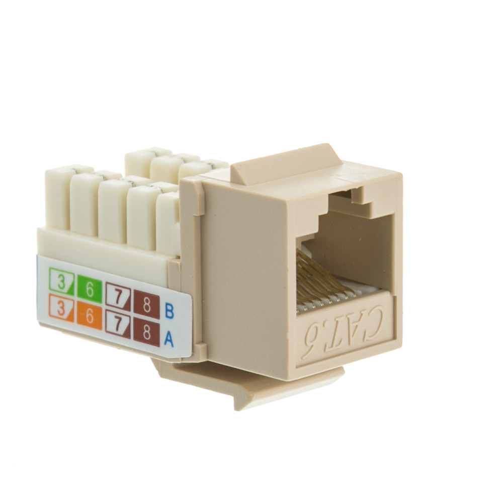Beige/Ivory Cat6 Keystone, RJ45 Female 110 PunchDown