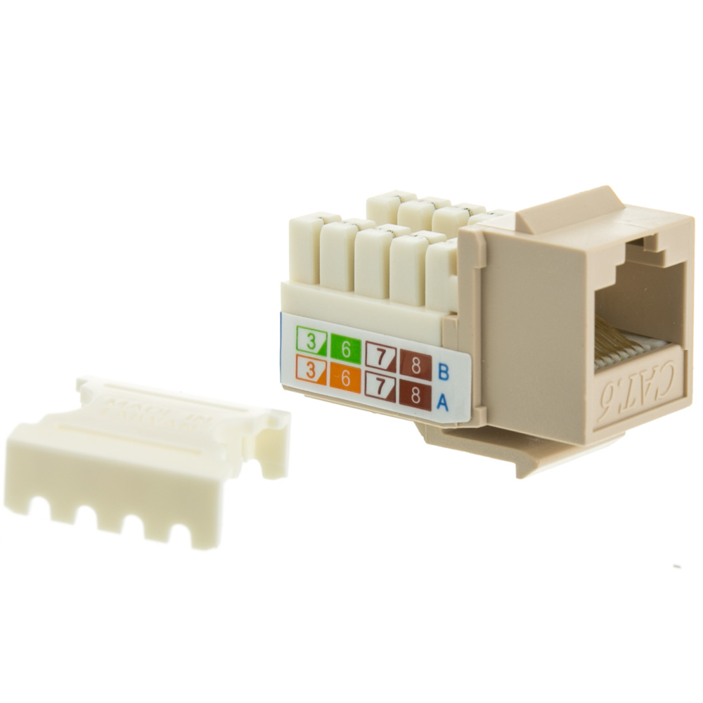 Beige Ivory Cat6 Keystone Rj45 Female 110 Punchdown Wiring Diagram Jack To Punch Down Part