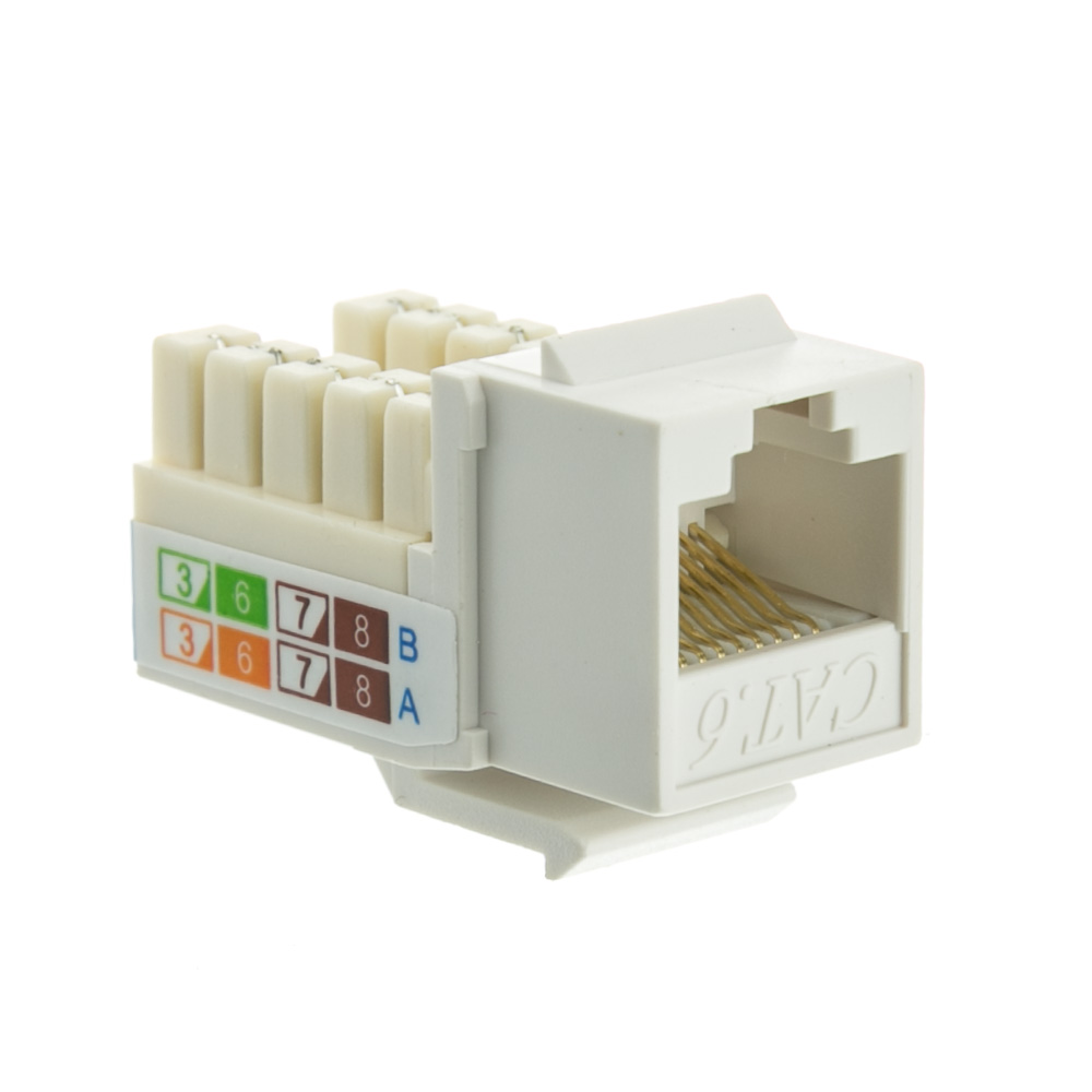 white cat6 keystone rj45 female to 110 punch down. Black Bedroom Furniture Sets. Home Design Ideas