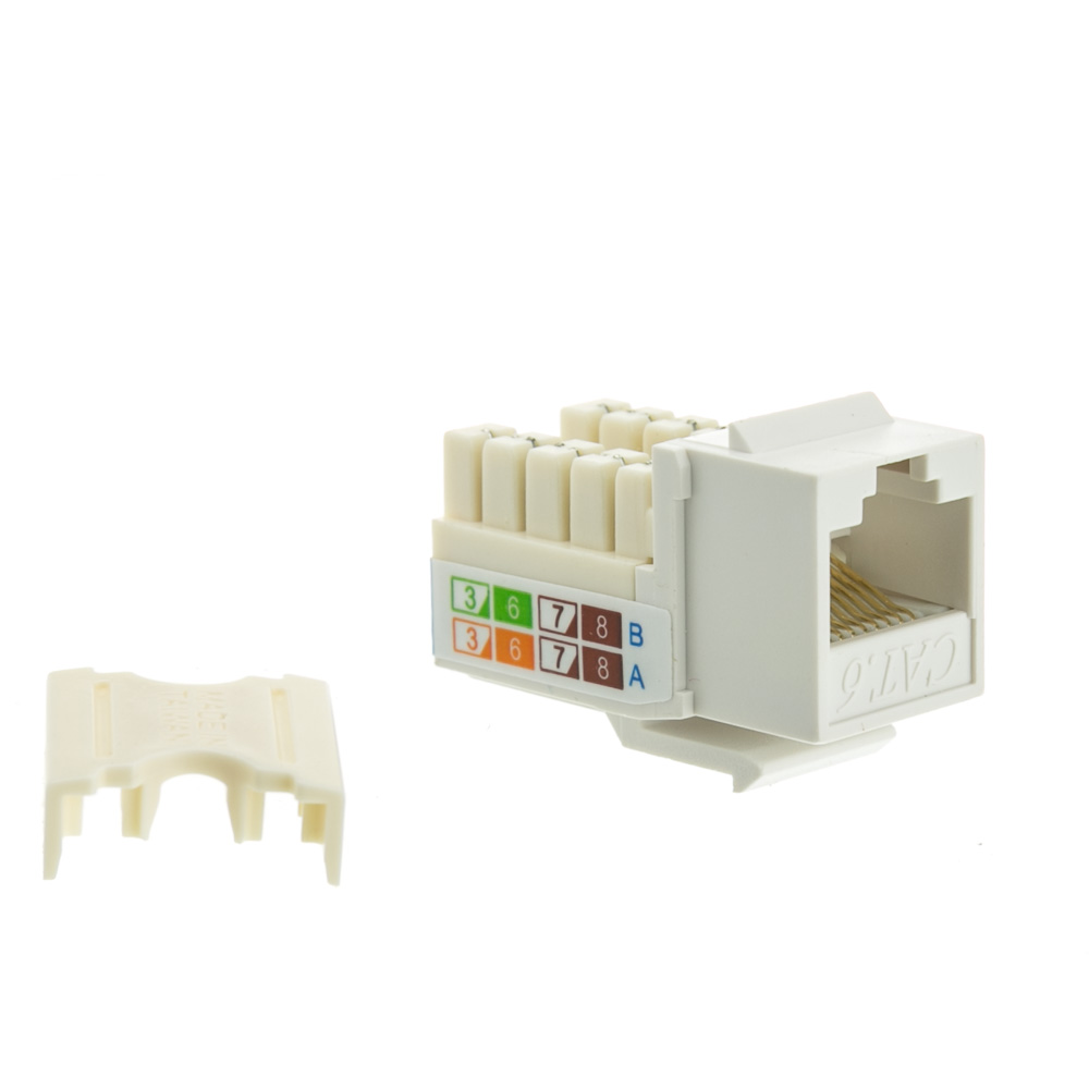 Z/ócalo en Blanco kwmobile Enchufe Doble RJ45 para Cables Cat 6A Placa Frontal empotrable para Cables de Red Ethernet Transmisi/ón de Red 10G//s