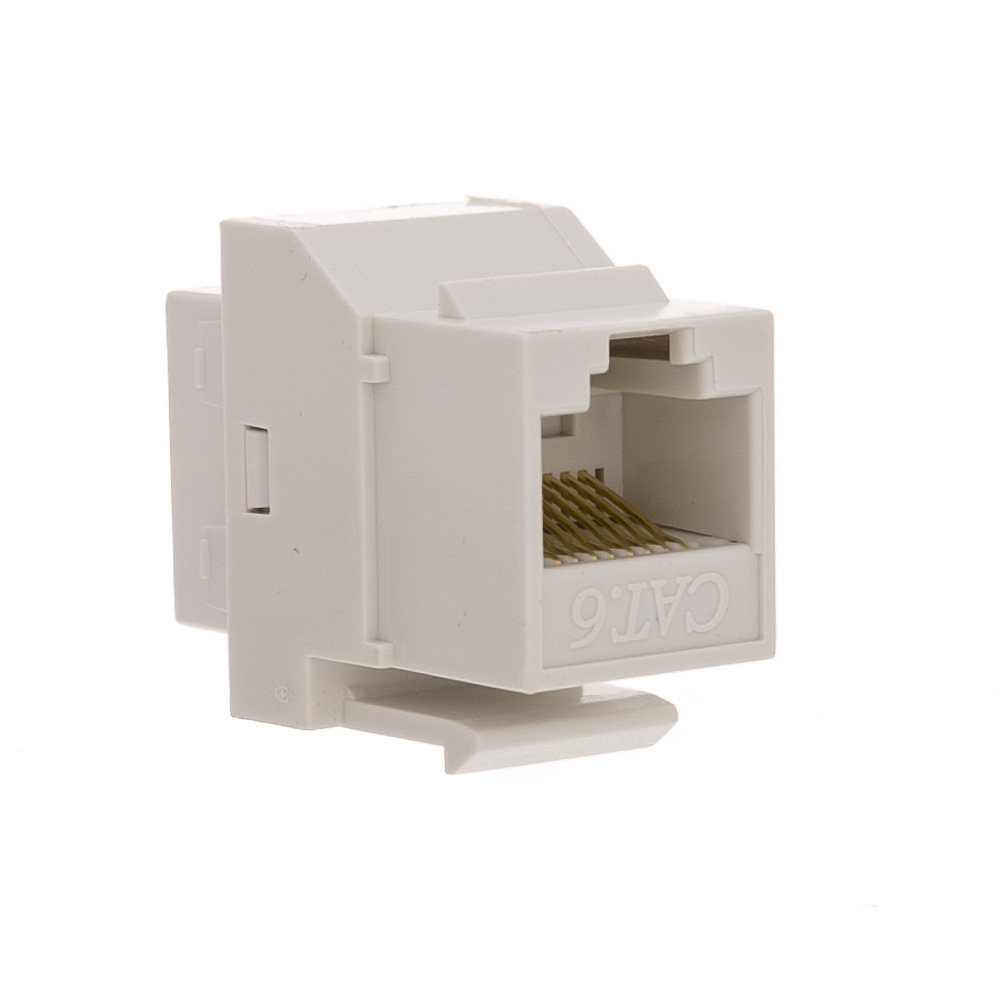 White Cat6 Inline Keystone Coupler  Rj45