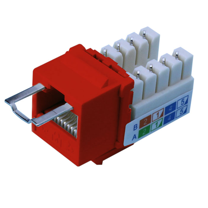 Red Locking Cat6 Keystone Jack Rj45 Female To 110 Punch Down