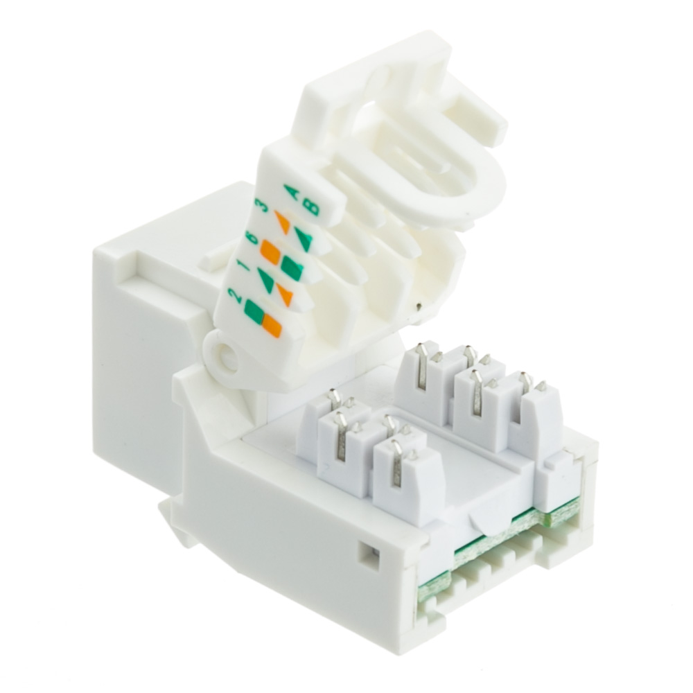 White Cat6 Rj45 Keystone Jack Toolless