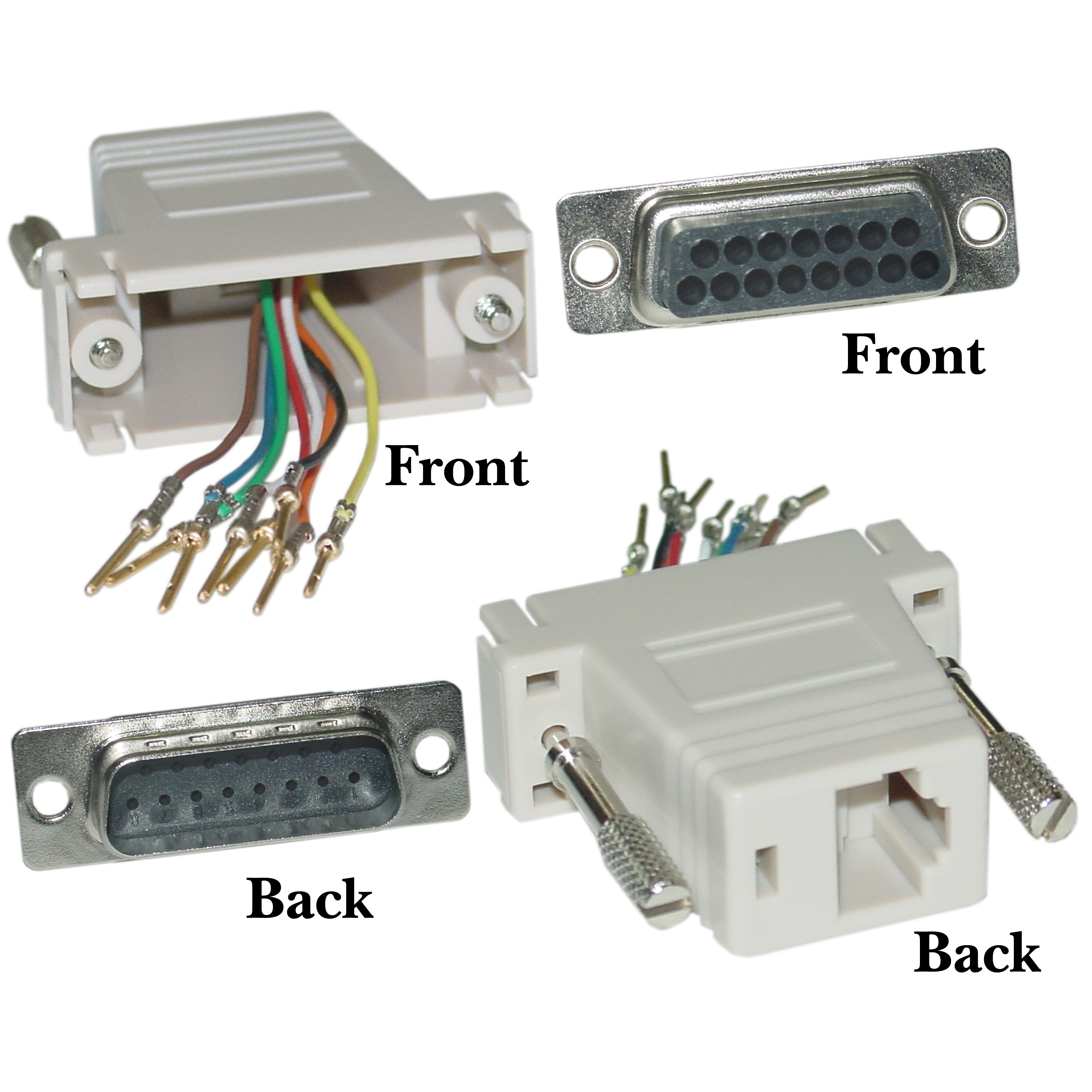 Modular Adapter, Beige, DB15 Male to RJ45 Female