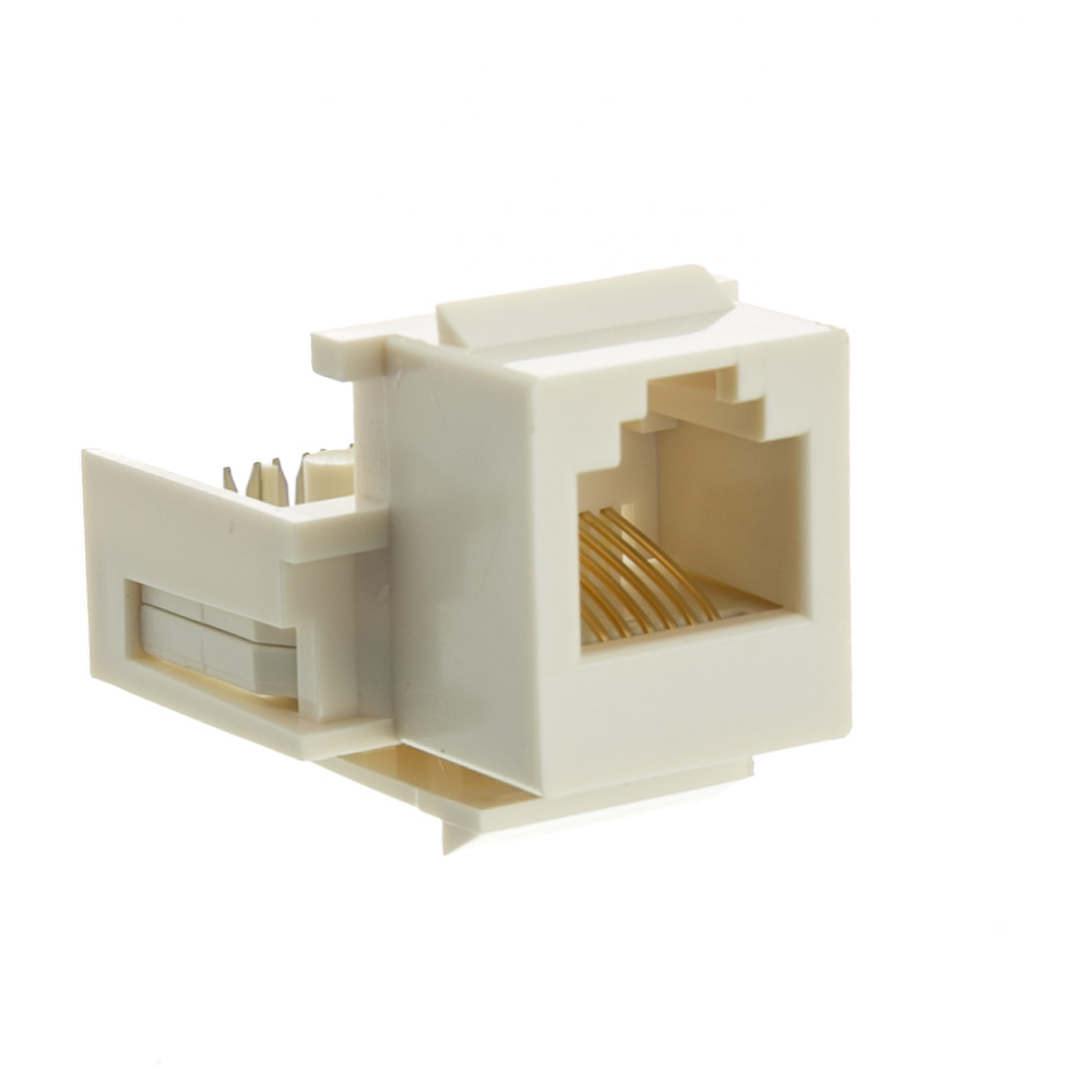white phone jack keystone rj11 rj12 to wire insert. Black Bedroom Furniture Sets. Home Design Ideas