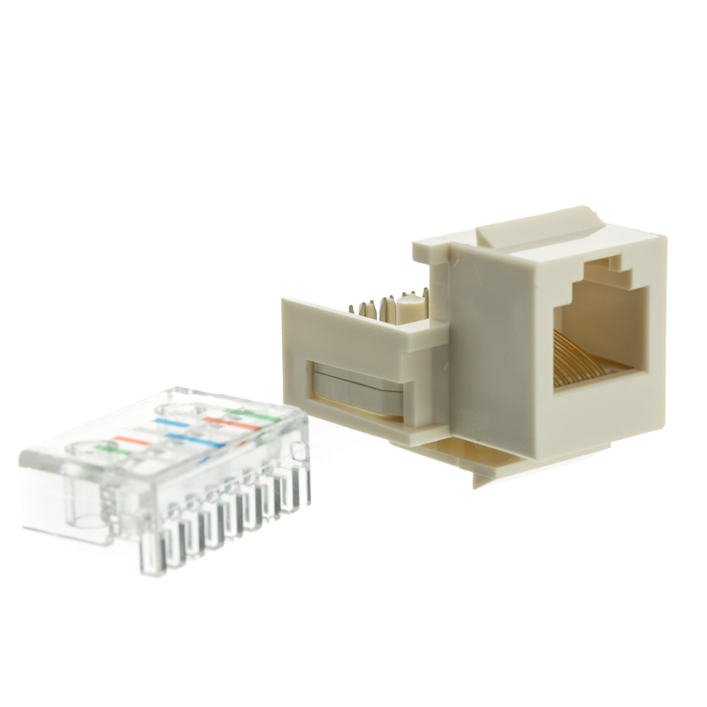 White Phone Jack Keystone Rj11 Rj12 To Wire Insert Wiring Diagram Tooless Female