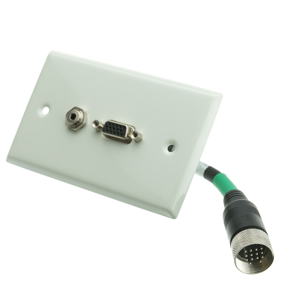 Ez Pull Audio Video Wall Plate Green Male To Vga Female