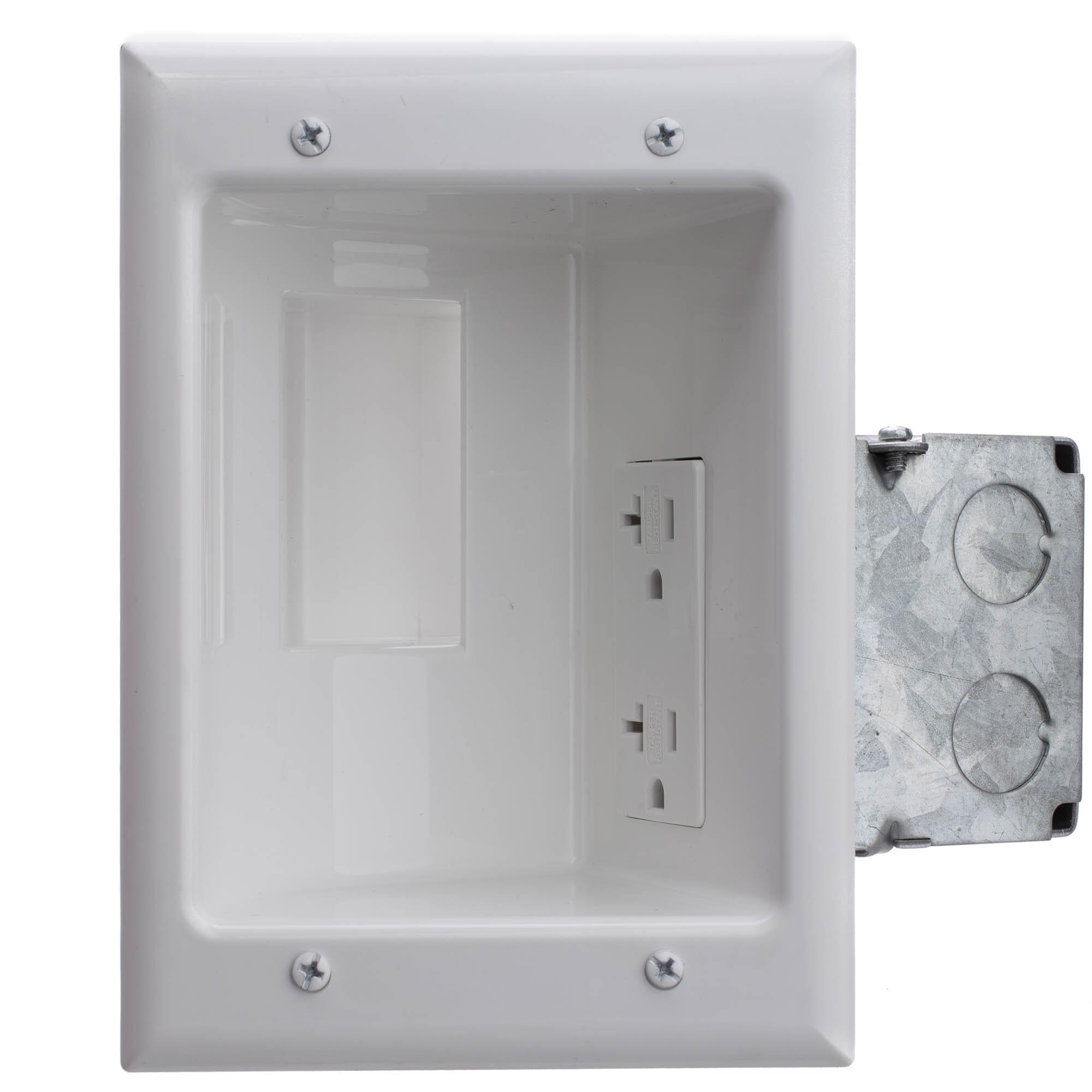 Recessed Low Voltage, 20 Amp Duplex Receptacle, White