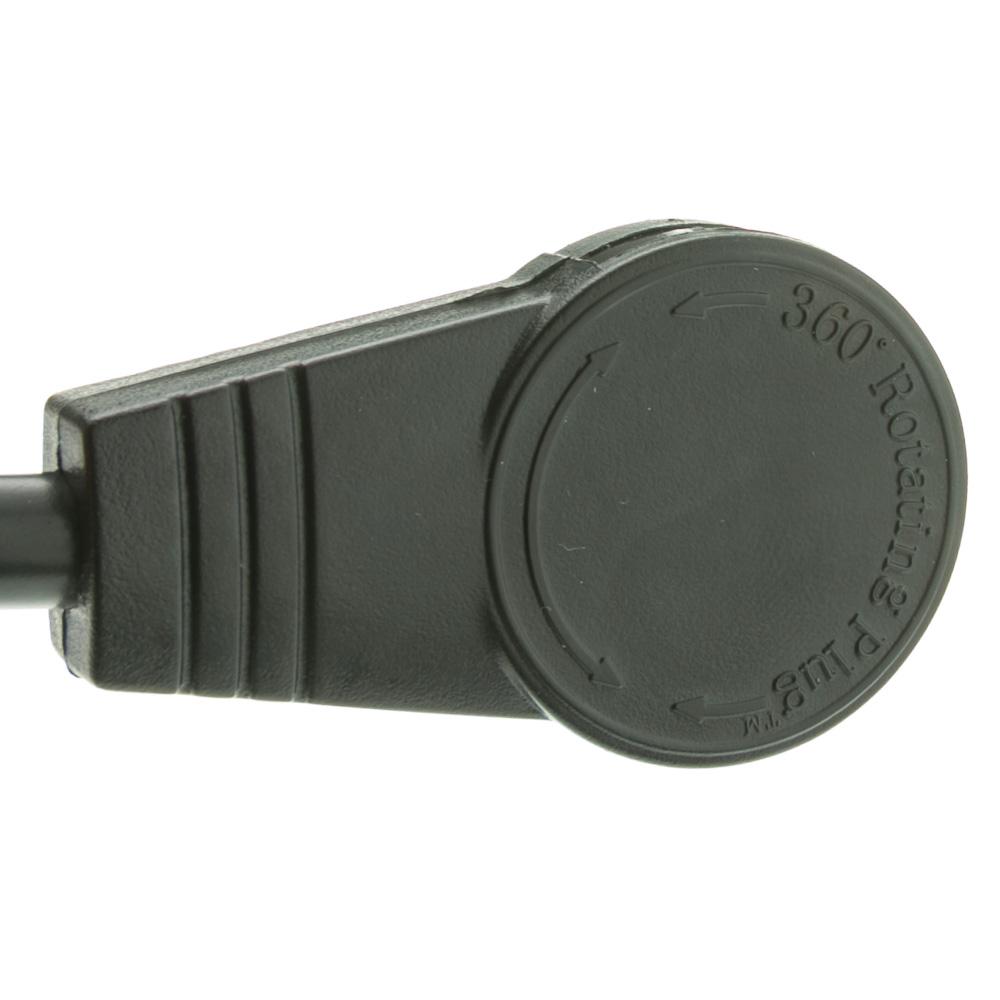 25ft Black 6 Outlet Surge Protector Strip Flat Rotating Plug