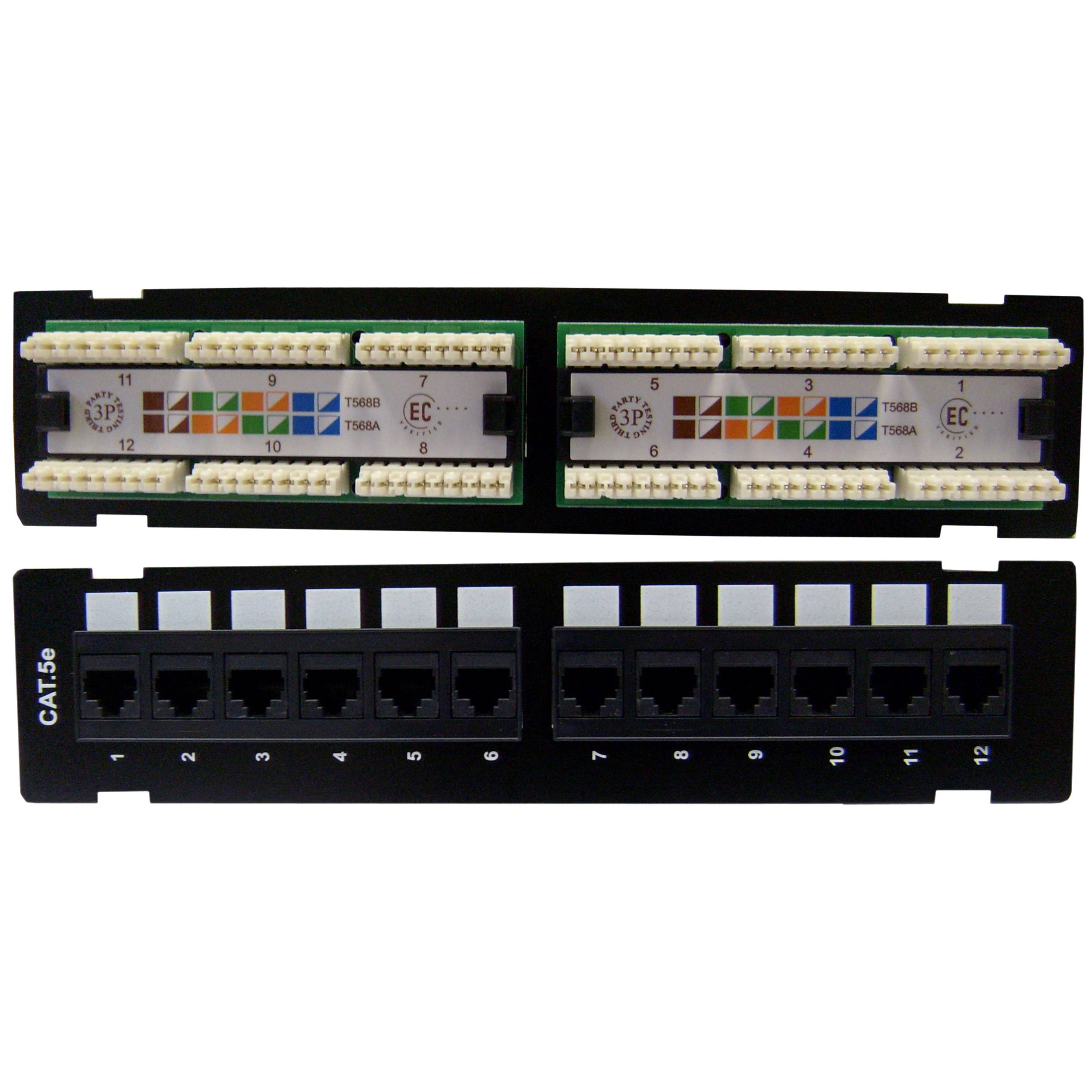 Wall Mount 12 Port Cat5e Patch Panel, 110 Type, 568A & 568B Compatible,