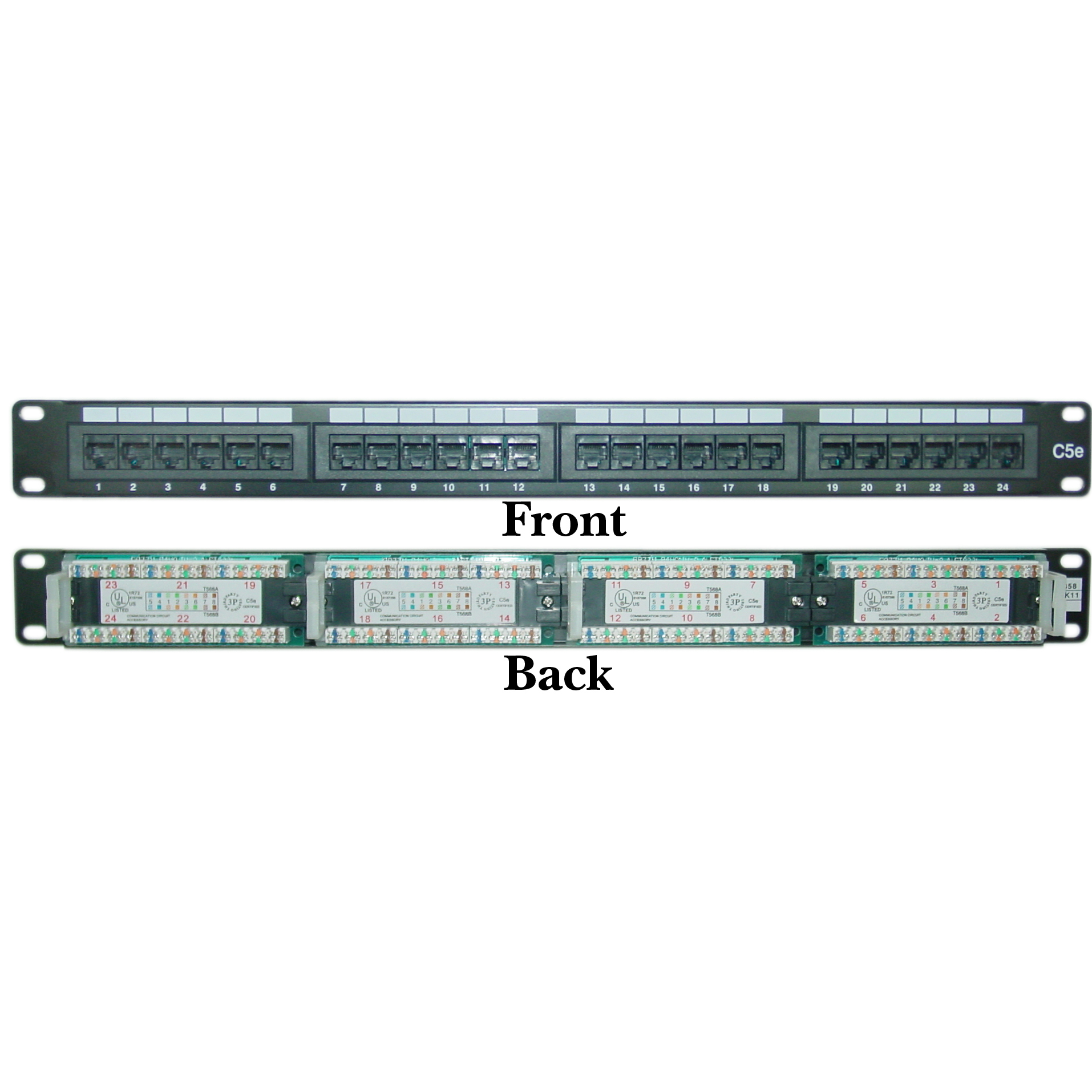 68pp 03024 1u rackmount 24 port cat5e patch panel, horizontal