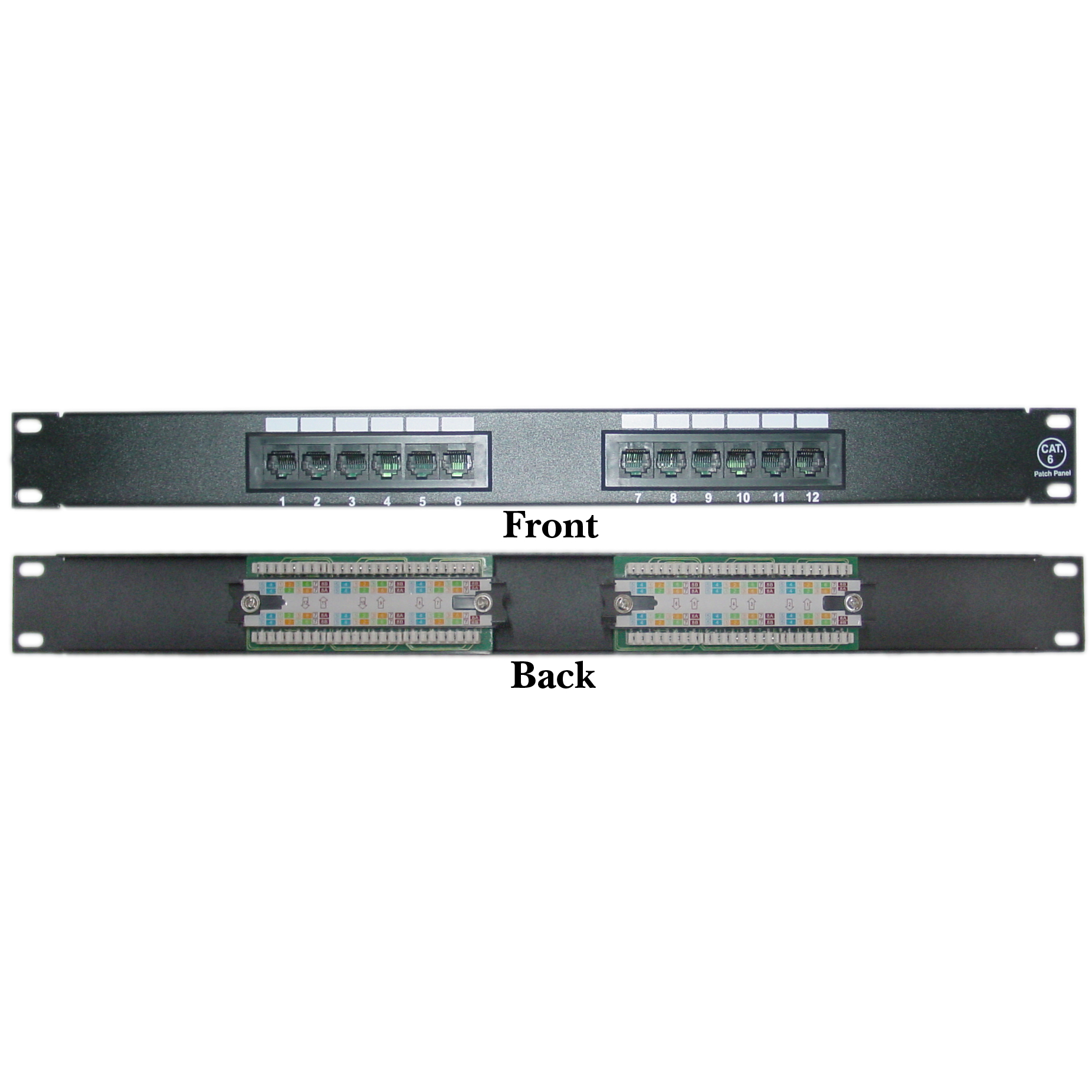Rackmount 12 Port Cat6 Patch Panel, Horizontal, 110 Type, 568A & 568B  Compatible