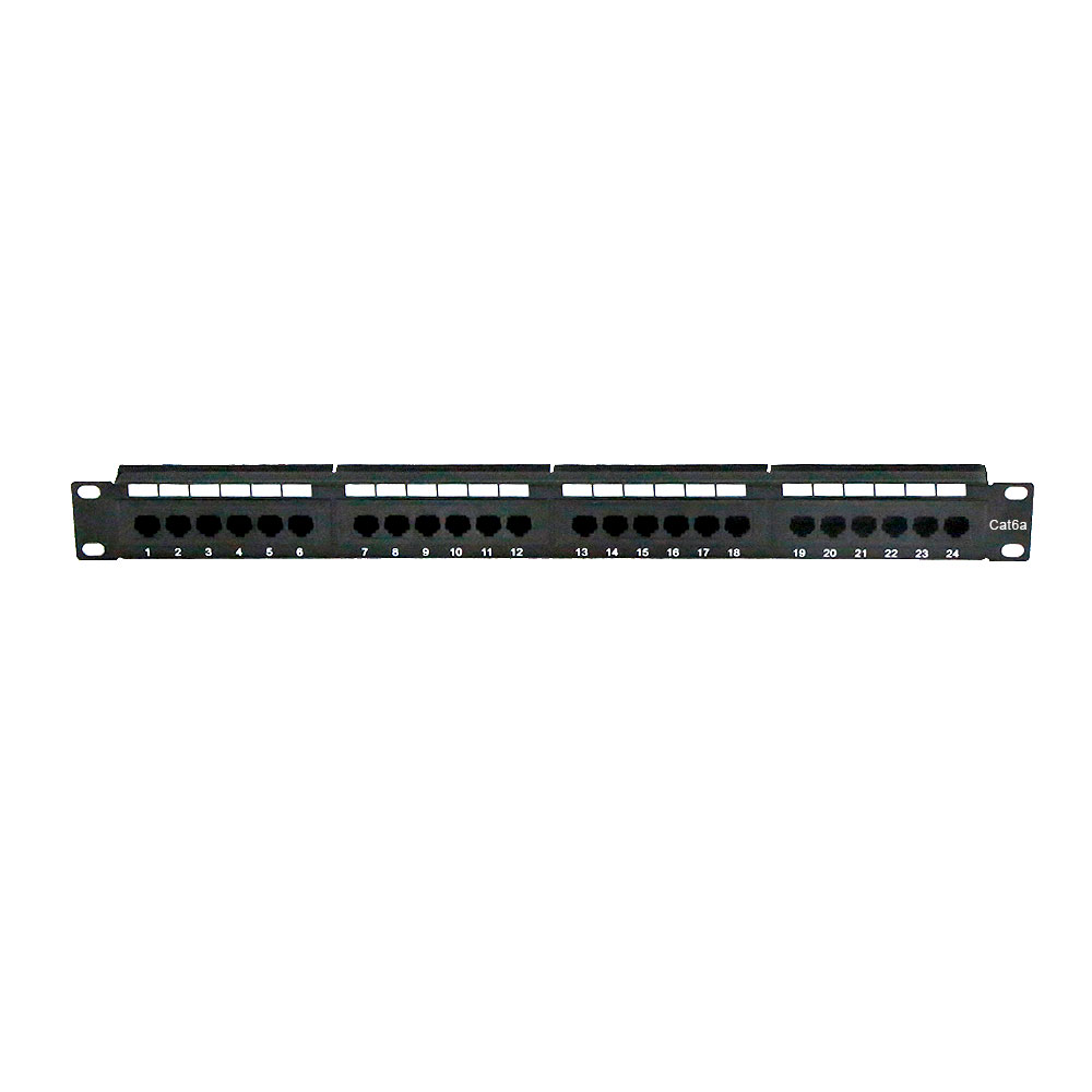 Rackmount 24 Port Cat6A Patch Panel Horizontal 110 Type 568A 568B Compatible