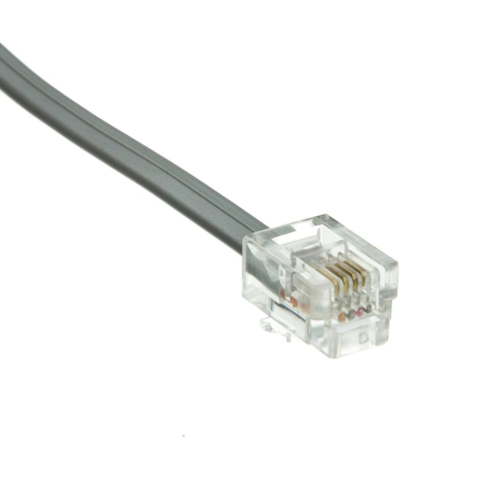 1ft Rj11 Silver Satin Flat Telephone Cord 6p 4c