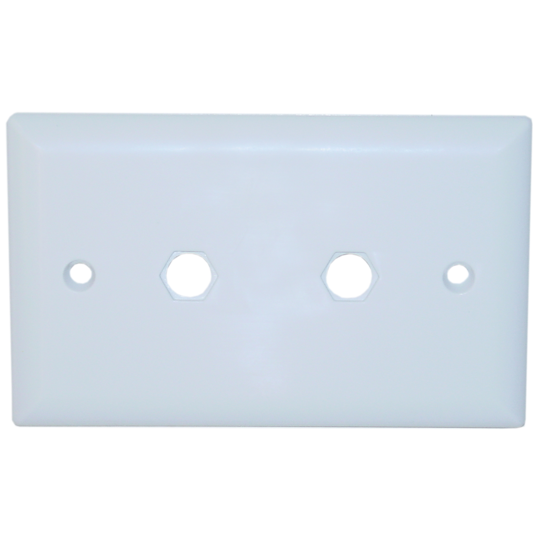White Wall Plate 2 Holes For Connectors Cablewholesale