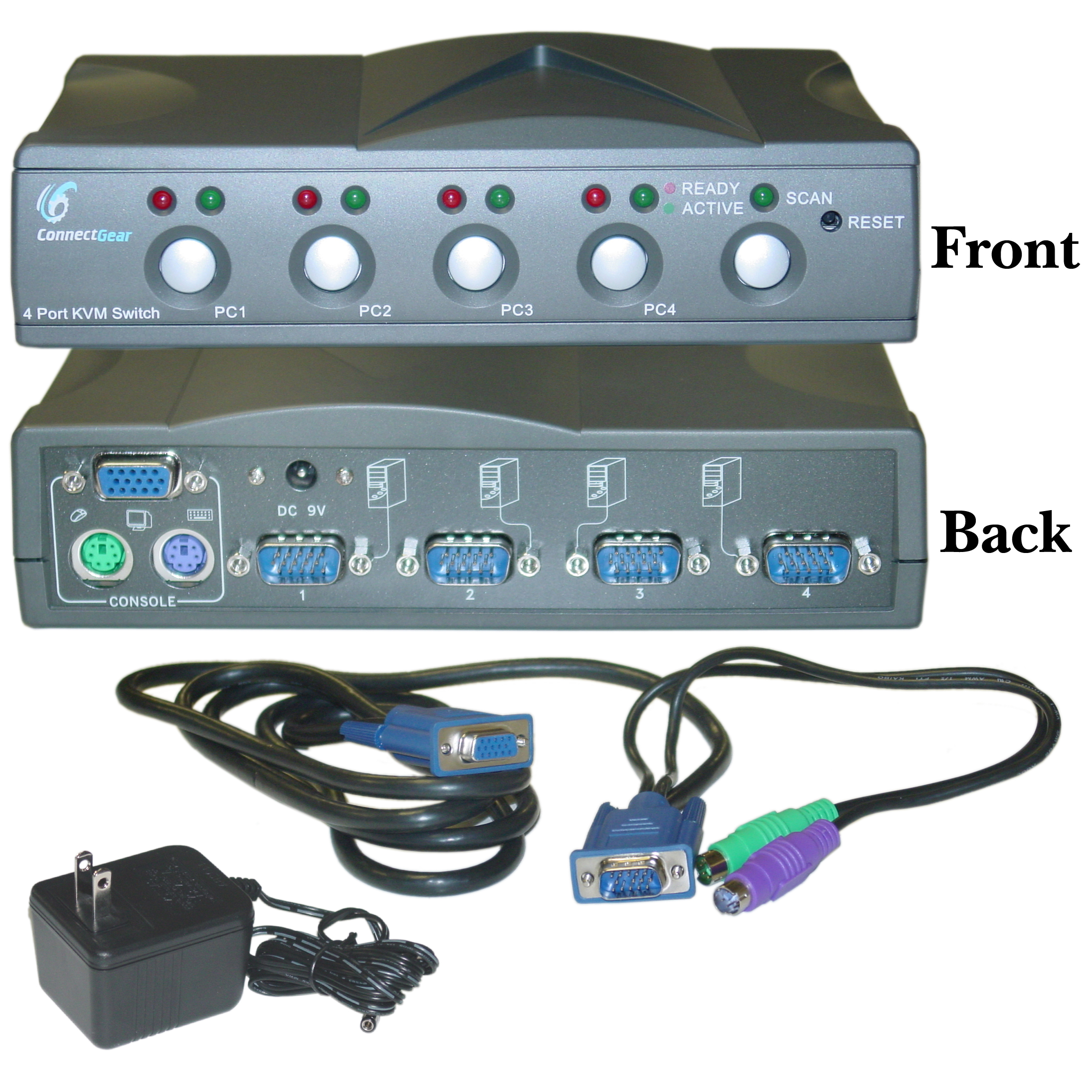 4 Port Kvm Switch With Cables Vga And Ps 2 Way For Sale Hd15