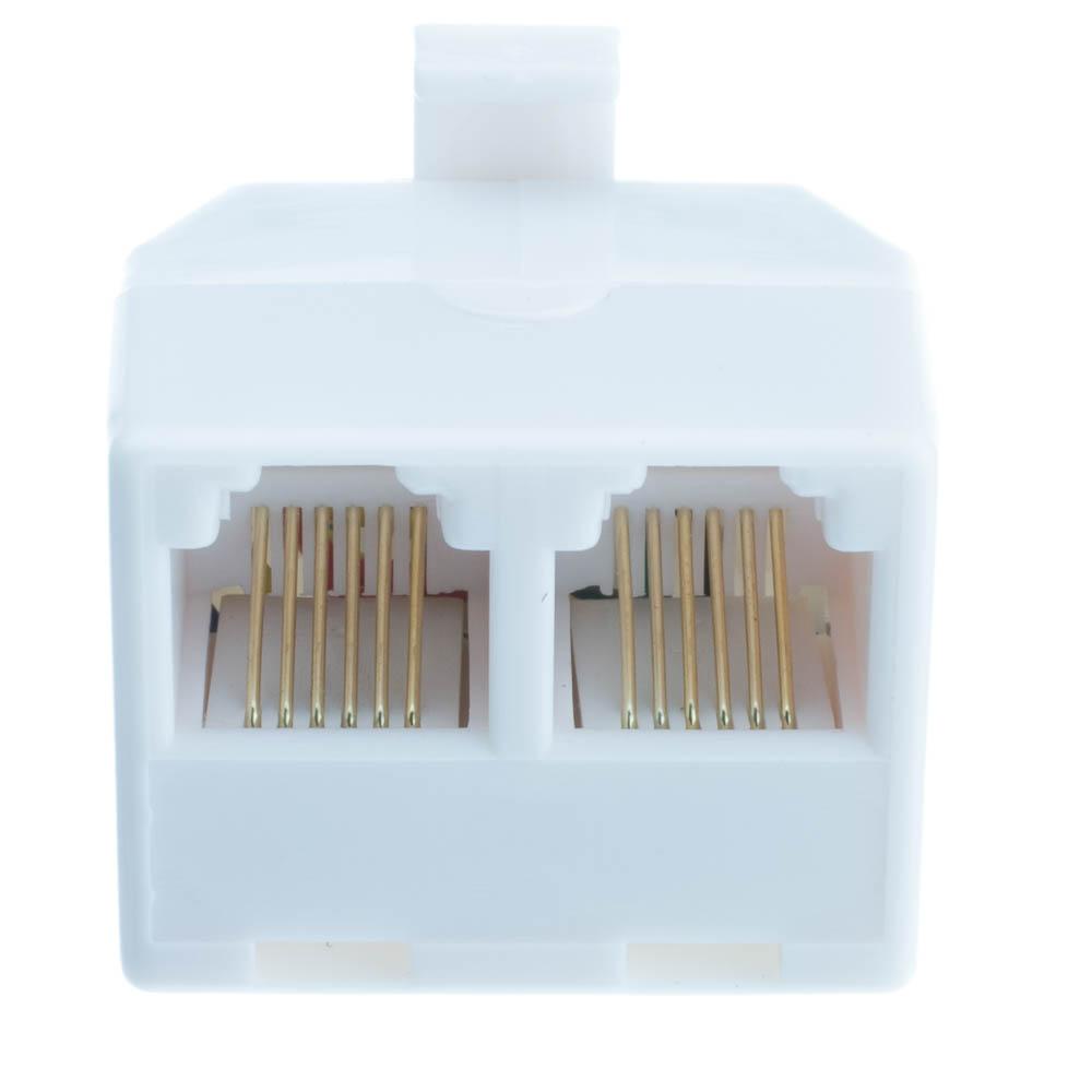 Phone Splitter Straight 6p6c Male To Two Rj11 Rj12 Female