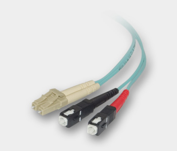 LC / SC, Multimode, Duplex Fiber Optic Cable, 10-Gigabit Aqua, 50/125, 1 Meter