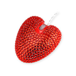 USB Heart-Shaped Bling Mouse