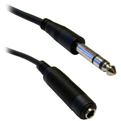 1/4 inch Stereo Extension Cable, TRS, Balanced, 1/4 inch Male to 1/4 inch Female, 6 foot - Part Number: 10A1-62206