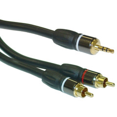 Premium 3.5mm Stereo Male to Dual RCA Male Cable, 25 foot - Part Number: 10A3-12125