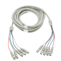 BNC x 5 Male to BNC x 5 Male Cable, Double-Shielded, 25 foot - Part Number: 10B1-07125