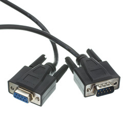 Serial Extension Cable, Black, DB9 Male to DB9 Female, RS232, UL rated, 9 Conductor, 1:1, 6 foot - Part Number: 10D1-03206BK