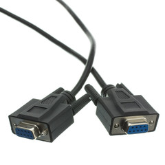DB9 Female Serial Cable, Black, DB9 Female, UL rated, 9 Conductor, 1:1, 6 foot - Part Number: 10D1-03406BK