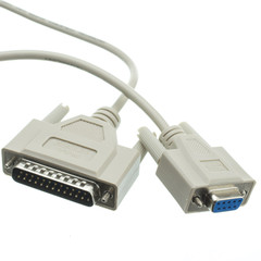 Null Modem Cable, DB9 Female to DB25 Male, UL rated, 8 Conductor, 3 foot - Part Number: 10D1-21303
