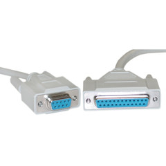 Null Modem Cable, DB9 Female to DB25 Female, UL rated, 8 Conductor, 10 foot - Part Number: 10D1-21410