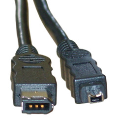 Firewire 400 6 Pin to 4 Pin cable, IEEE-1394a, 10 foot - Part Number: 10E3-02110