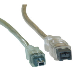 Firewire 400 9 Pin to 4 Pin cable, Clear, IEEE-1394a, 6 foot - Part Number: 10E3-94006