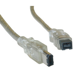 Firewire 400 9 Pin to 6 Pin Cable, Clear, IEEE-1394a, 6 foot - Part Number: 10E3-96006