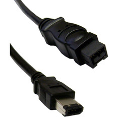 Firewire 400 9 Pin to 6 Pin Cable, Black, IEEE-1394a, 3 foot - Part Number: 10E3-96003BK