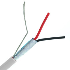 Shielded Plenum Security Cable, White, 22/2 (22 AWG 2 Conductor), Stranded, CMP, Pullbox, 1000 foot - Part Number: 11K4-5291SH