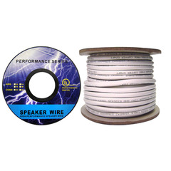 Speaker Cable, White, Pure Copper, CM / Inwall rated, 14/4 (14 AWG 4 Conductor), 105 Strand / 0.16mm, Spool, 50 foot - Part Number: 10G3-49150