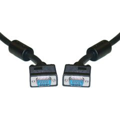 SVGA Cable with Ferrites, Black, HD15 Male, Coaxial Construction, Double Shielded, 1 foot - Part Number: 10H1-20101