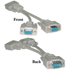 8 inch VGA Y-Cable, HD15 Male to 2 HD15 Female, Molded, Low Resolution (Box of 200) - Part Number: KIT-10H1-27708