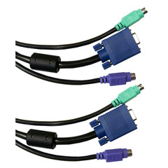 KVM Cable, Black, SVGA and 2 PS/2, HD15 Male and 2 x MiniDin6 Male, 15 foot - Part Number: 10H1-30115BK