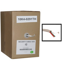 Security/Alarm Wire, White, 22/2 (22AWG 2 Conductor), Solid, CMR / Inwall rated, Pullbox, 1000 foot - Part Number: 10K4-0291TH