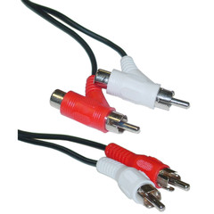 RCA Audio Piggyback Cable, 2 RCA Male to 2 RCA Male + RCA Female Piggyback, 12 foot - Part Number: 10R1-02512