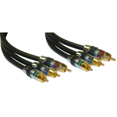 Premium Component Video RCA Cable, 3 RCA Male, 24K Gold Connectors, CL2, 3 foot - Part Number: 10R4-03103