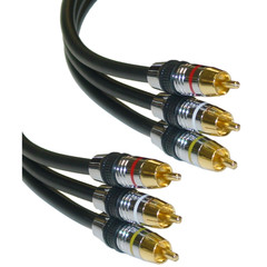 Premium RCA Audio / Video Cable, 3 RCA Male, 24K Gold Connectors, 1 foot - Part Number: 10R4-13101