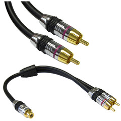 Premium Subwoofer Cable, RCA Male, Includes RCA Female to Dual RCA Male Adapter, CL2 rated, 24K Gold Connectors, 35 foot - Part Number: 10R4-21135