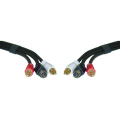 S-Video and RCA Stereo Audio Cable, MiniDin4 Male and 2 RCA Male, 12 foot - Part Number: 10S2-03112