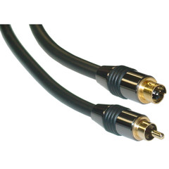 Premium Grade S-Video to RCA Video Cable, MiniDin4 Male to RCA Male, Gold connectors, 100 foot - Part Number: 10S3-420HD
