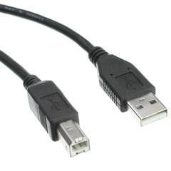 USB 2.0 Printer/Device Cable, Black, Type A Male to Type B Male, 1 foot - Part Number: 10U2-02201BK